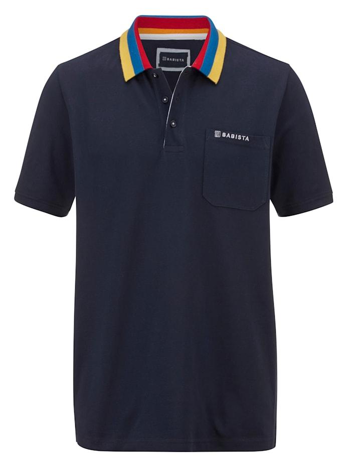 BABISTA Poloshirt mit kontrastfarbenem Kragen, Marineblau