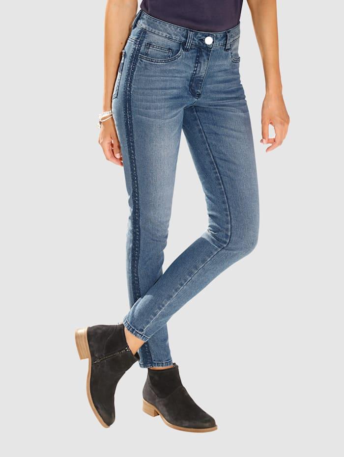 Laura Kent Jeans Laura Extra Slim - mit Stickerei, Blue bleached