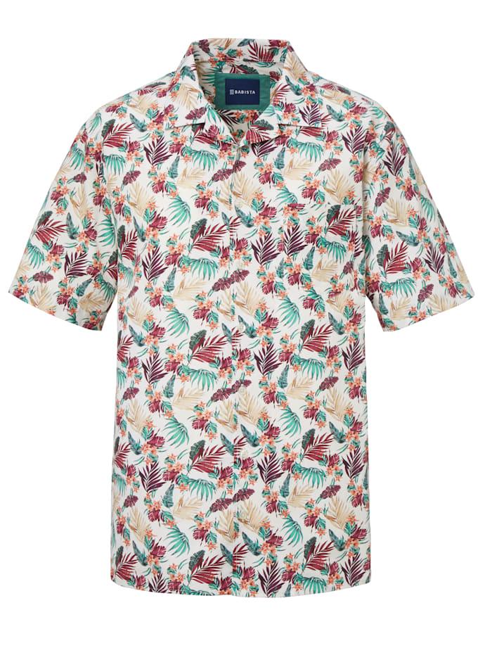 BABISTA Hemd mit floralem Druckmuster, Beige/Bordeaux