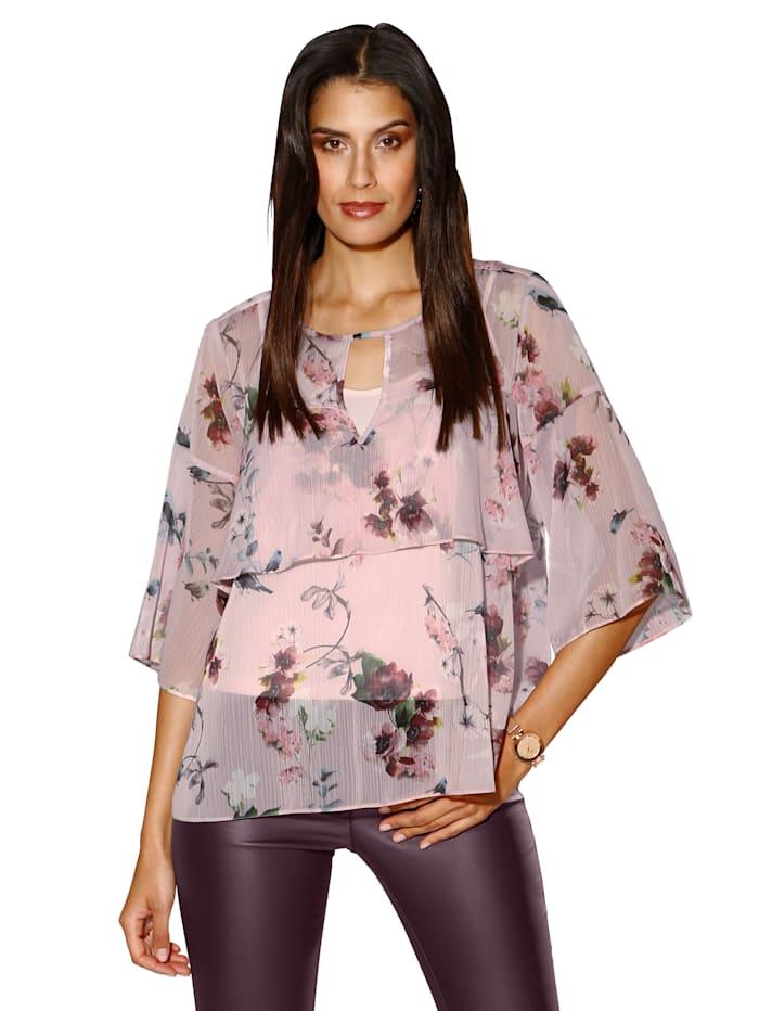 AMY VERMONT Blus och linne med blommigt mönster, Rosa/Ljung/Crèmevit