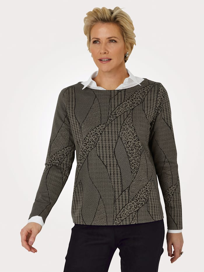 MONA Sweatshirt met boothals, Olijf/Zwart