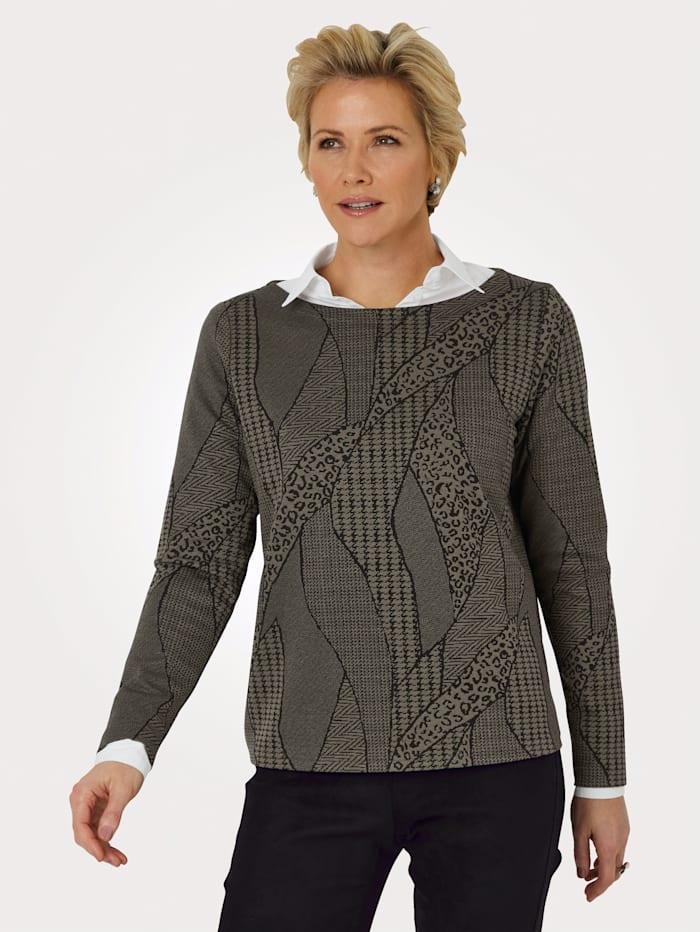 MONA Sweatshirt mit U-Boot-Ausschnitt, Oliv/Schwarz