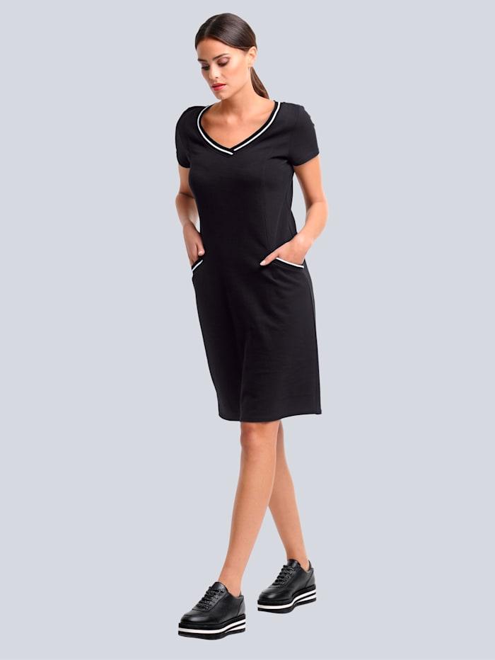 Alba Moda Jersey jurk van hoogwaardig piquémateriaal, Zwart/Wit