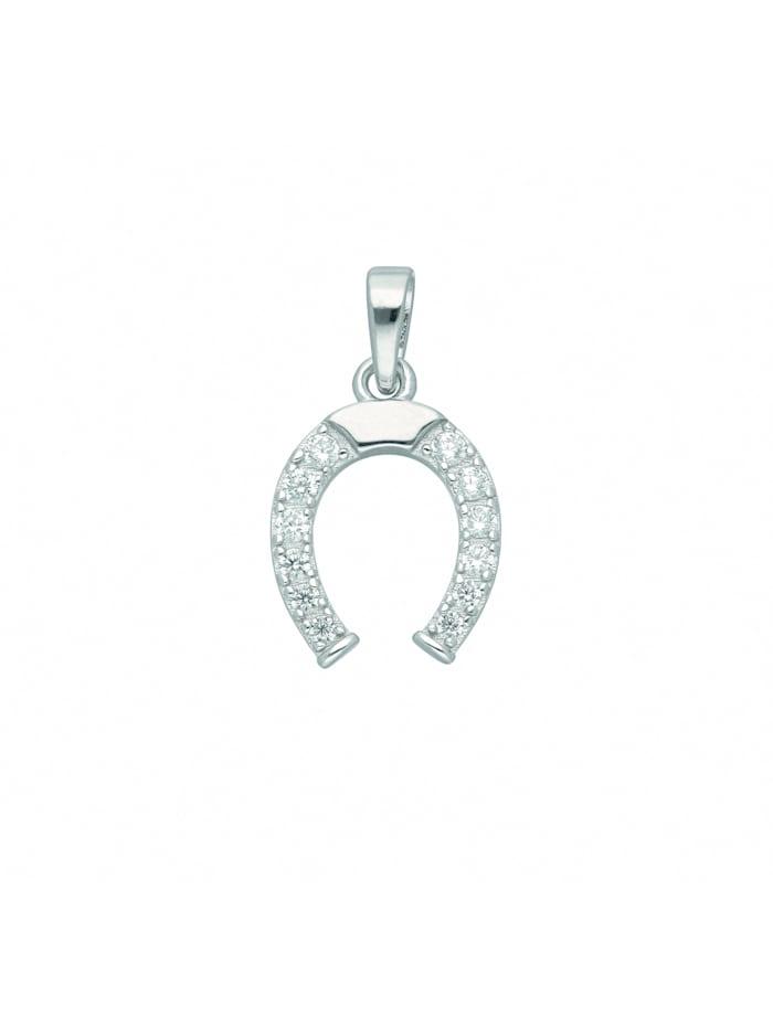 1001 Diamonds Damen Silberschmuck 925 Silber Anhänger Hufeisen mit Zirkonia, silber