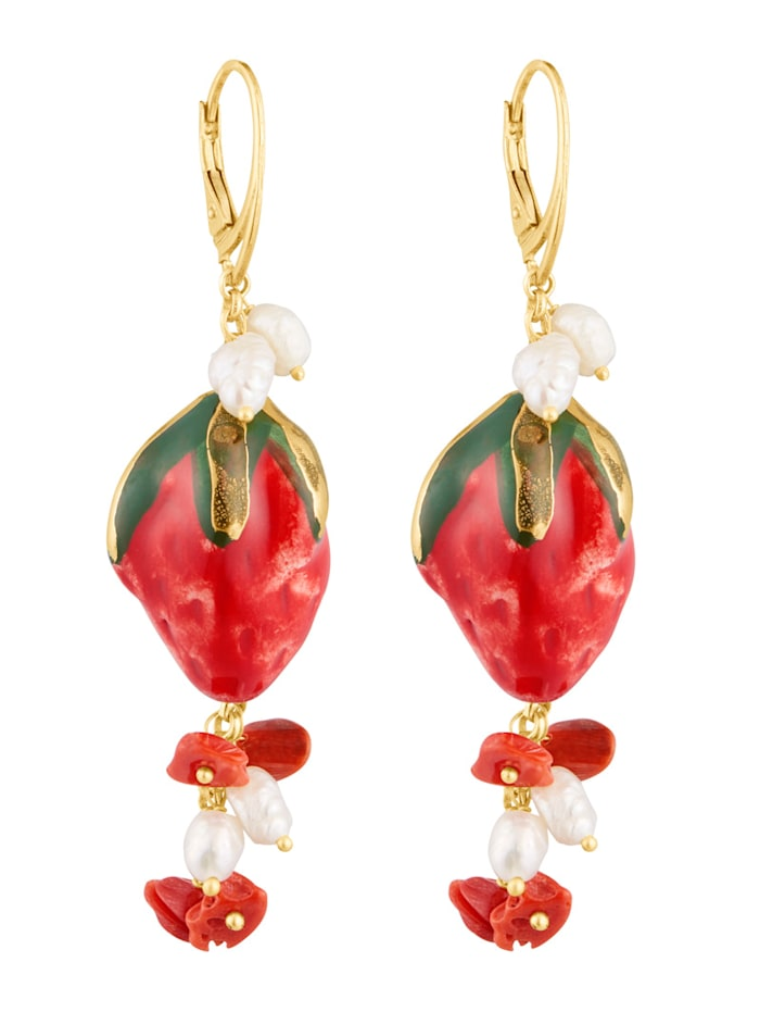 Örhängen med pärlor, röda koraller och jordgubbar i keramik, Flerfärgad