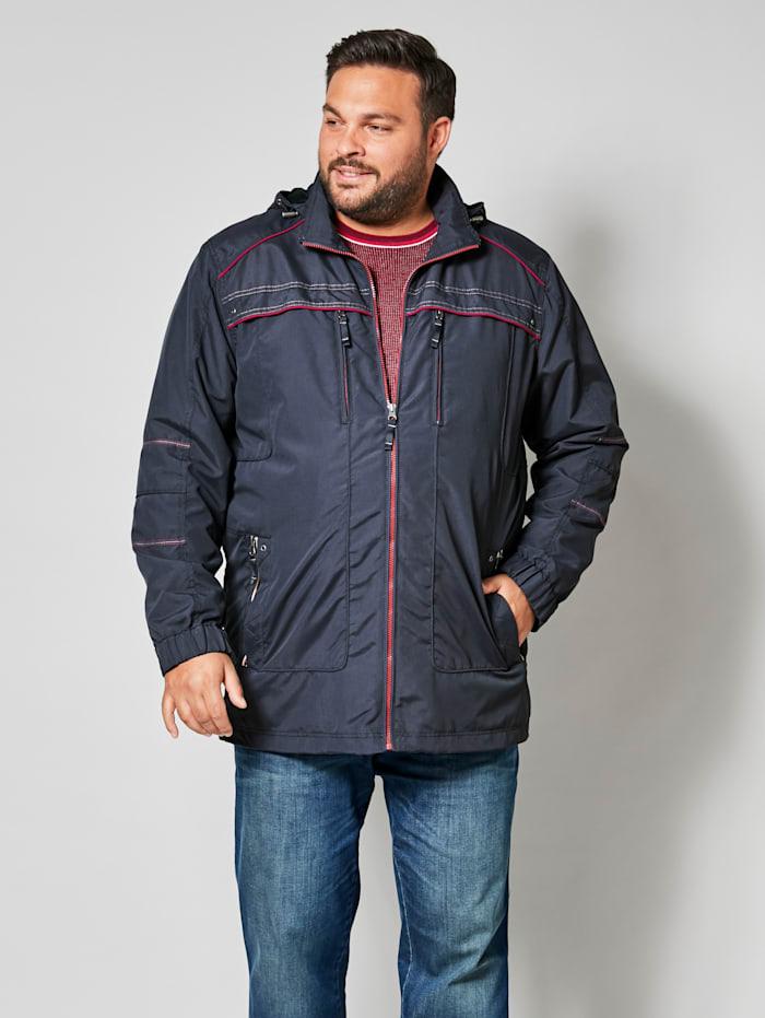 Men Plus Jacke mit abnehmbarer Kapuze, Marineblau