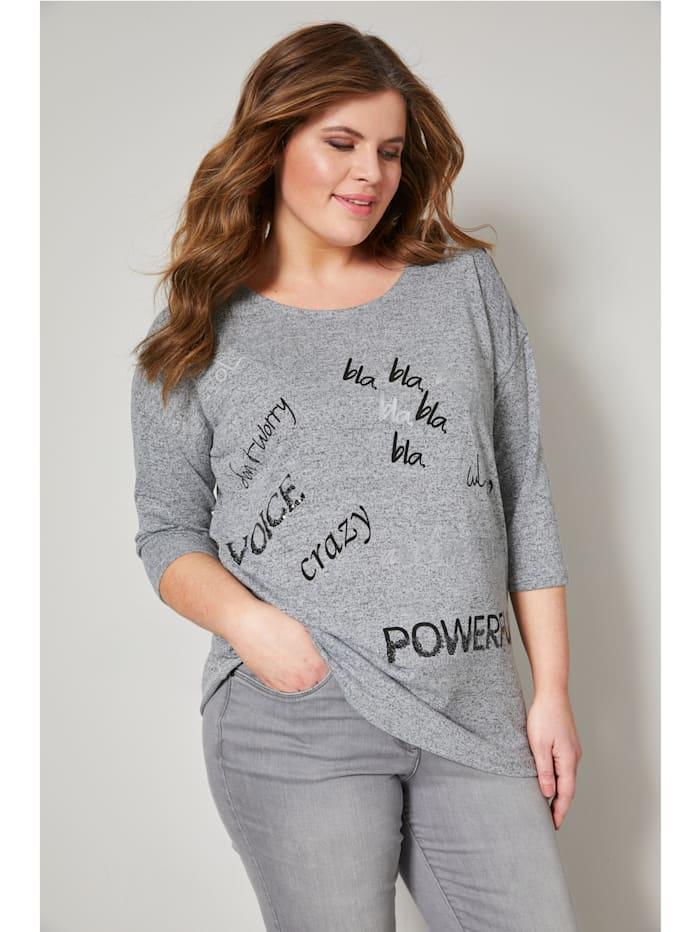 Janet & Joyce Shirt mit Schriftzug, Grau