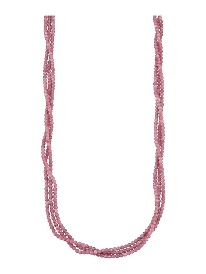 3-rijige ketting van echt zilver, Pink
