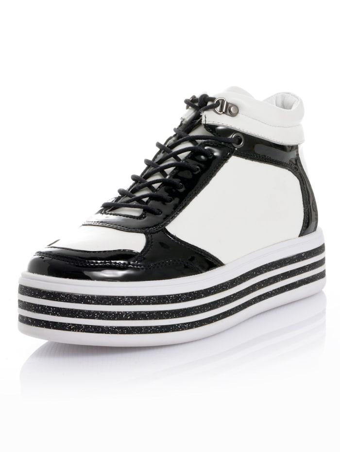 Alba Moda Hightop-Sneaker als Hingucker-Faktor, Weiß/Schwarz