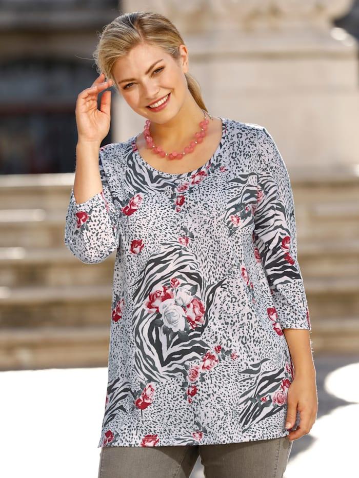 m. collection Shirt rundum mit Blumendruck, Grau/Koralle