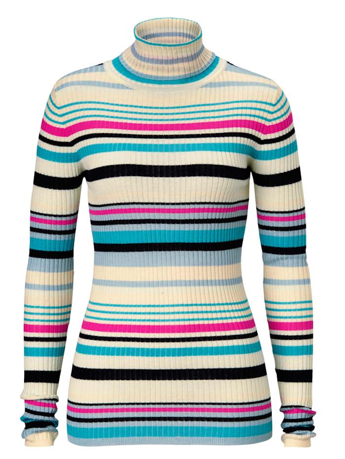 SIENNA Pullover gerippt mit Multicolor Ringel, Multicolor