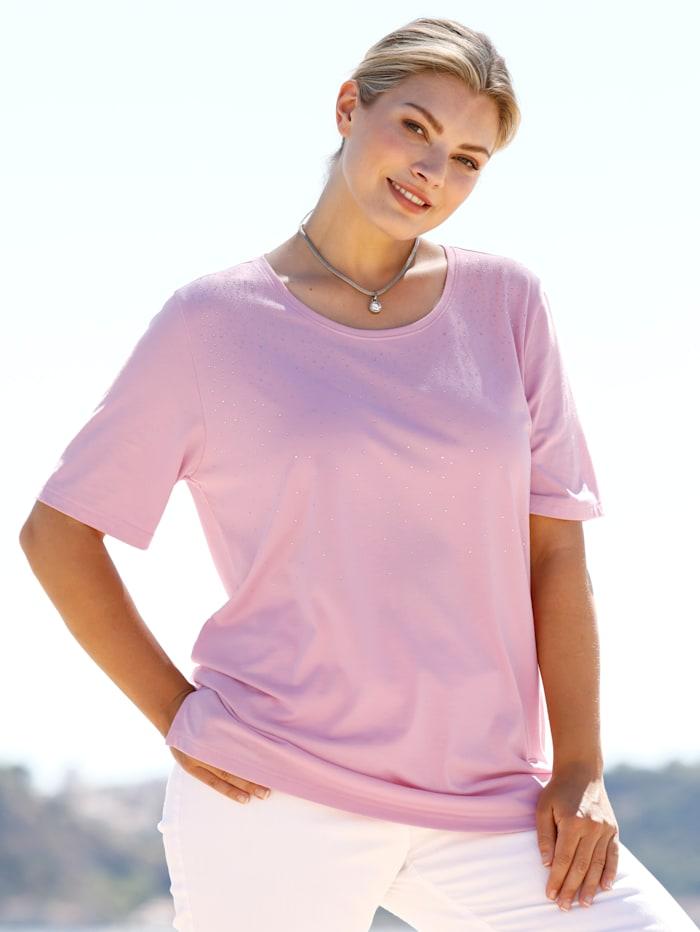 m. collection Shirt met siersteentjes aan de hals, Roze
