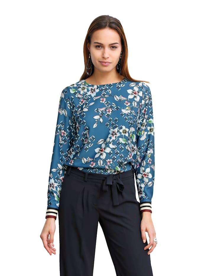AMY VERMONT Bluse mit besonderem Druckmix, Blau/Multicolor