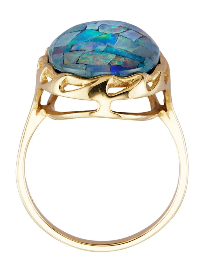 Bague avec opale mosaïque