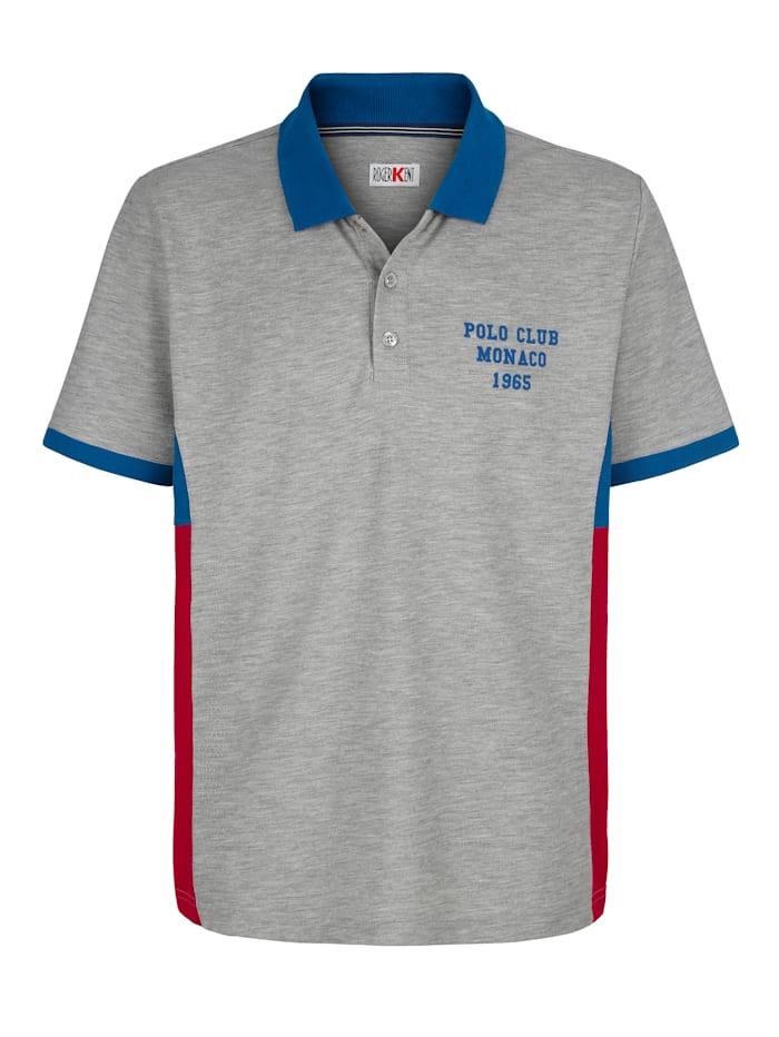 Roger Kent Poloshirt mit seitlichen Kontrasteinsätzen, Grau/Blau/Rot