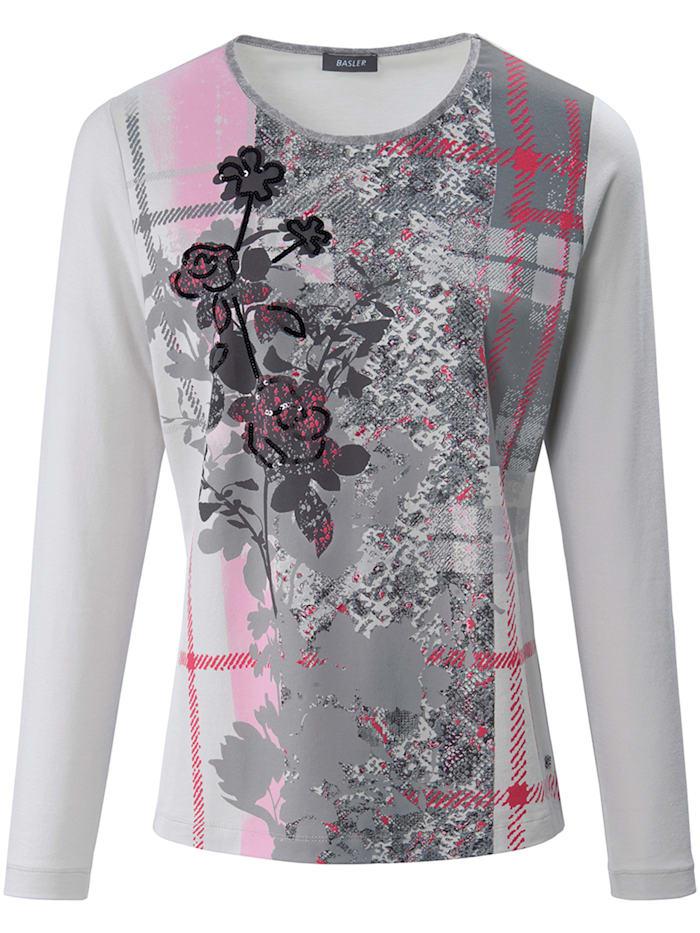 Basler Shirt mit Front-Print und Pailletten, lt grey multicolour