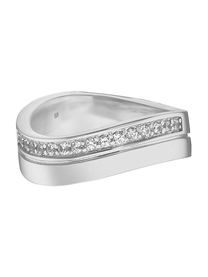 JETTE Silver Damen-Damenring 925er Silber 15 Zirkonia