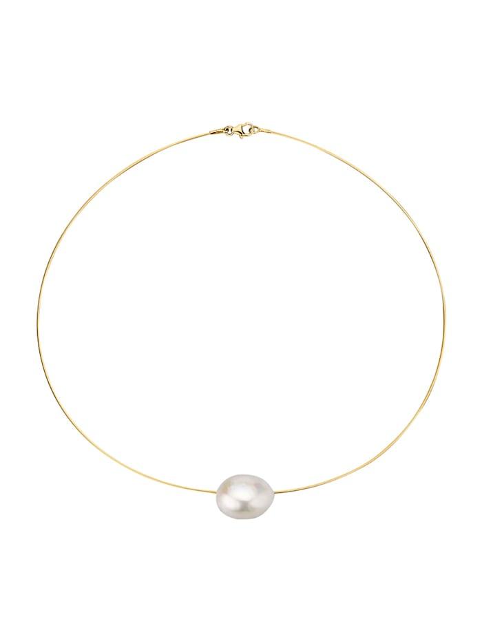 Diemer Perle Collier mit Süßwasser-Zuchtperl-Nugget, Weiß