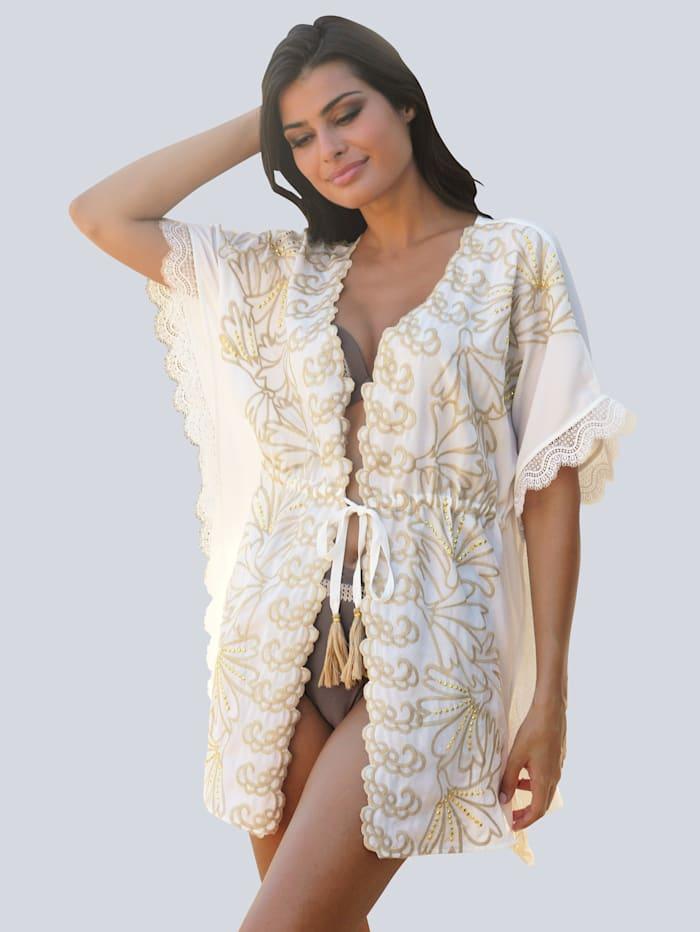 Alba Moda Strandcardigan mit goldfarbenen Plättchen, Creme-Weiß