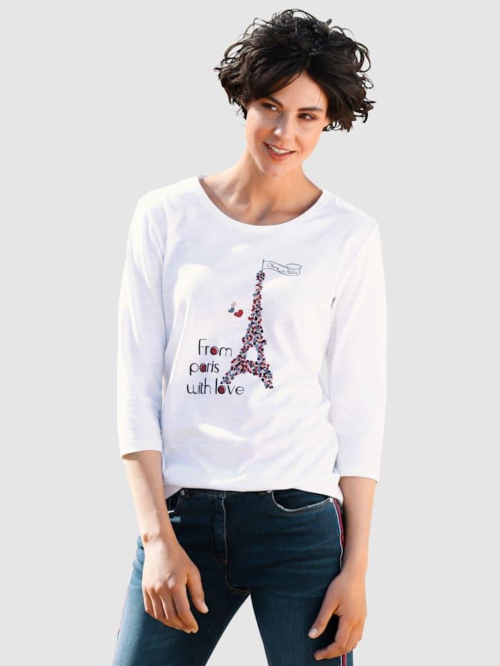 Dress In Shirt mit Print, Wollweiß