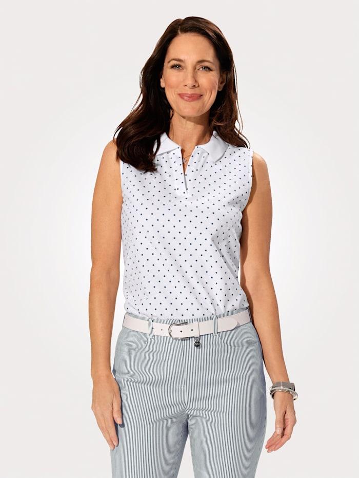 MONA Poloshirt mit sportivem Strickkragen, Marineblau/Weiß