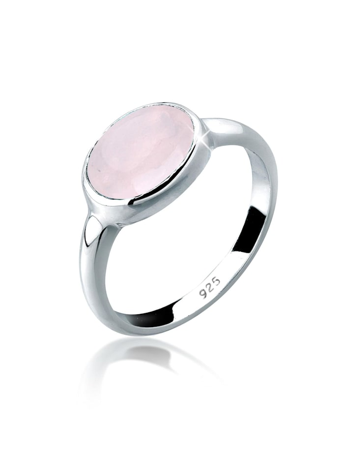 Elli Ring Rosenquarz Solitär 925 Sterling Silber, Rosa