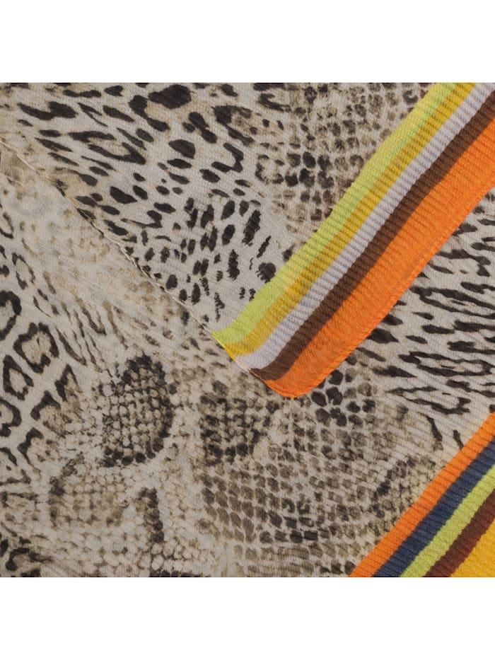 Plissee-Schal mit Schlangen-Print aus recyceltem Polyester