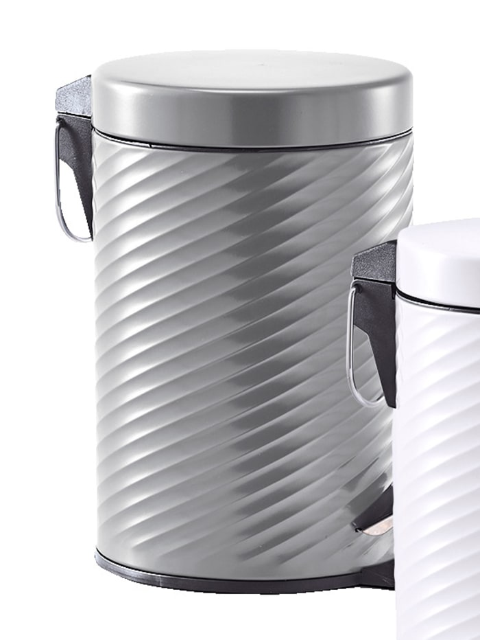 Poubelle à pédale, 3 litres, métal anthracite