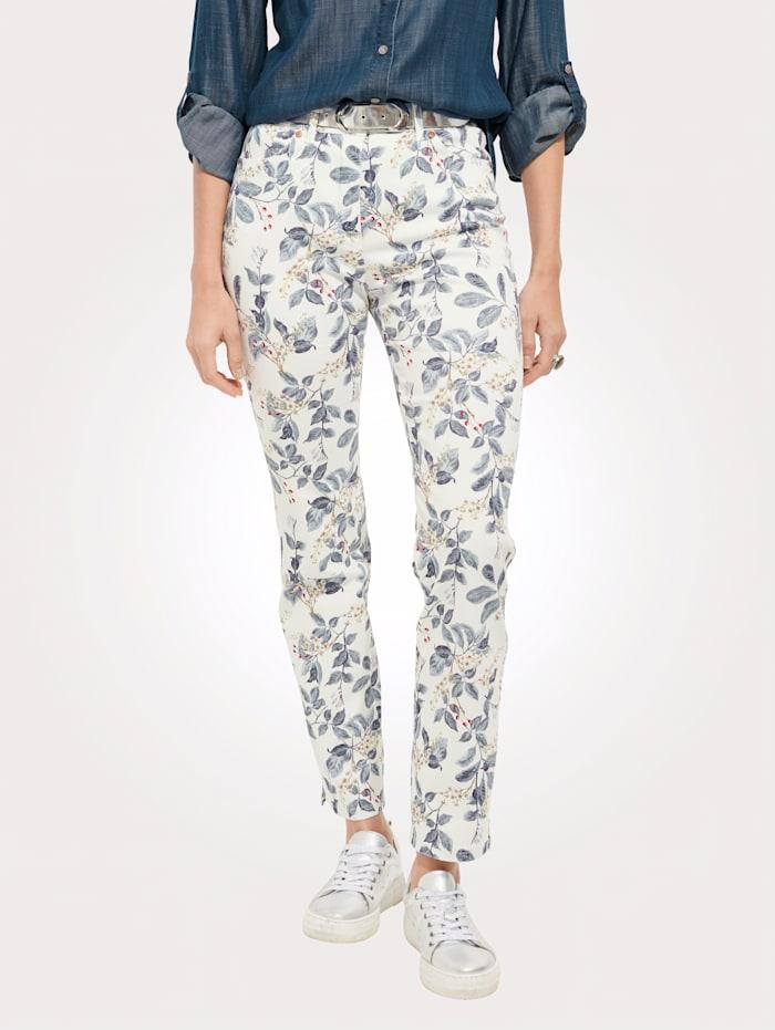 Toni Jeans met bloemenprint, Wit/Blauw