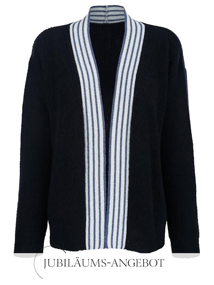 Alba Moda Strickjacke mit Glanzgarneffekten an der Blende, marine-silber-blau