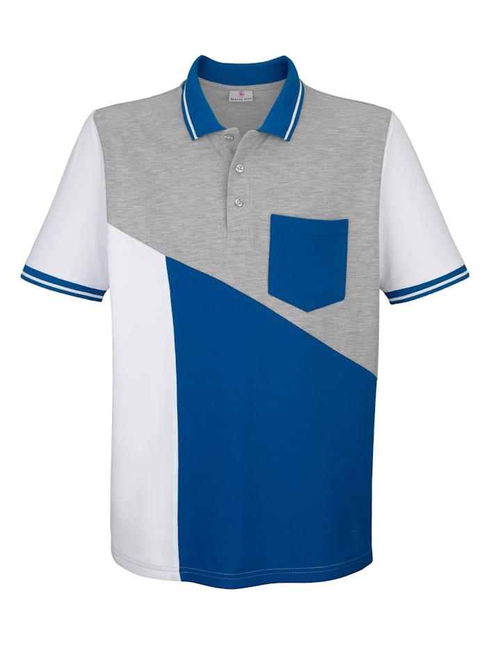 Boston Park Poloshirt mit Farbteilung im Vorderteil, Weiß/Royalblau/Grau