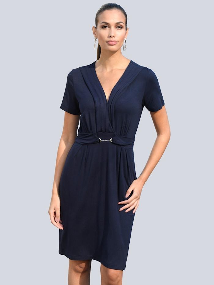 Alba Moda Kleid mit dekorativem Trensendetail in der Taille, Marineblau