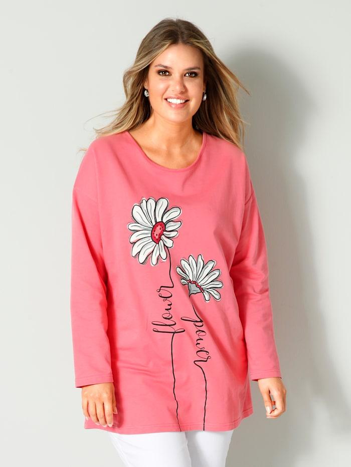 Janet & Joyce Sweatshirt mit Blumendruckmotiv, Koralle/Weiß