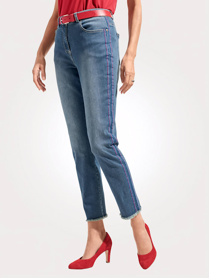 MONA Jeans met sportieve bandjes, Blauw/Rood/Lichtblauw