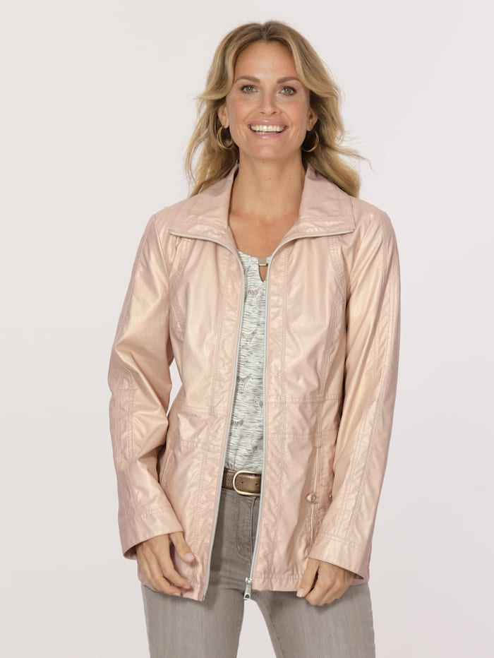 MONA Faux leather jacket with a subtle shimmer, Gold-Coloured