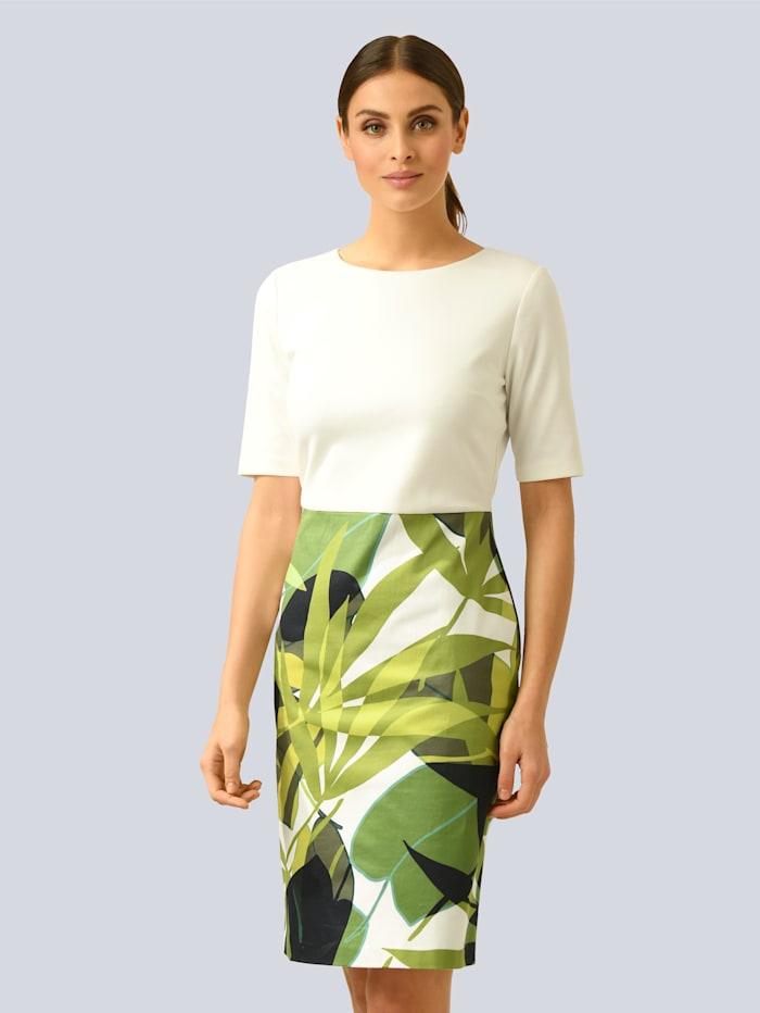 Alba Moda Etuikleid mit dekorativem Reißverschluss aus Materialmix, Grün/Off-white