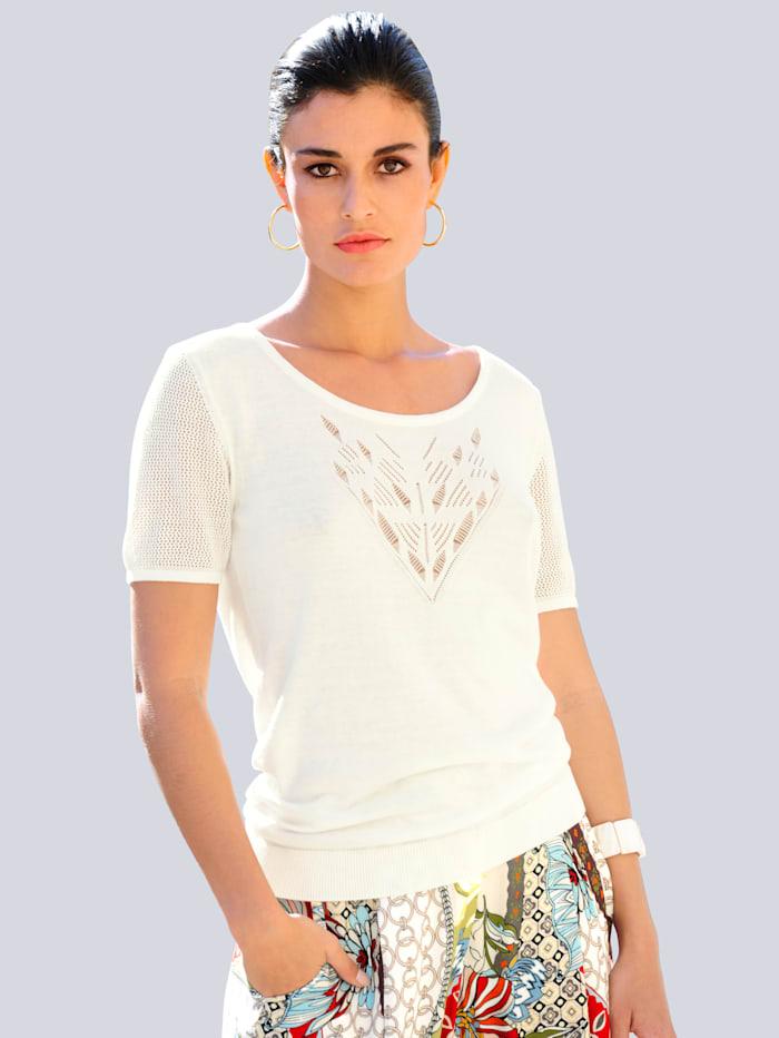 Alba Moda Pullover mit Ajours-Muster, Off-white