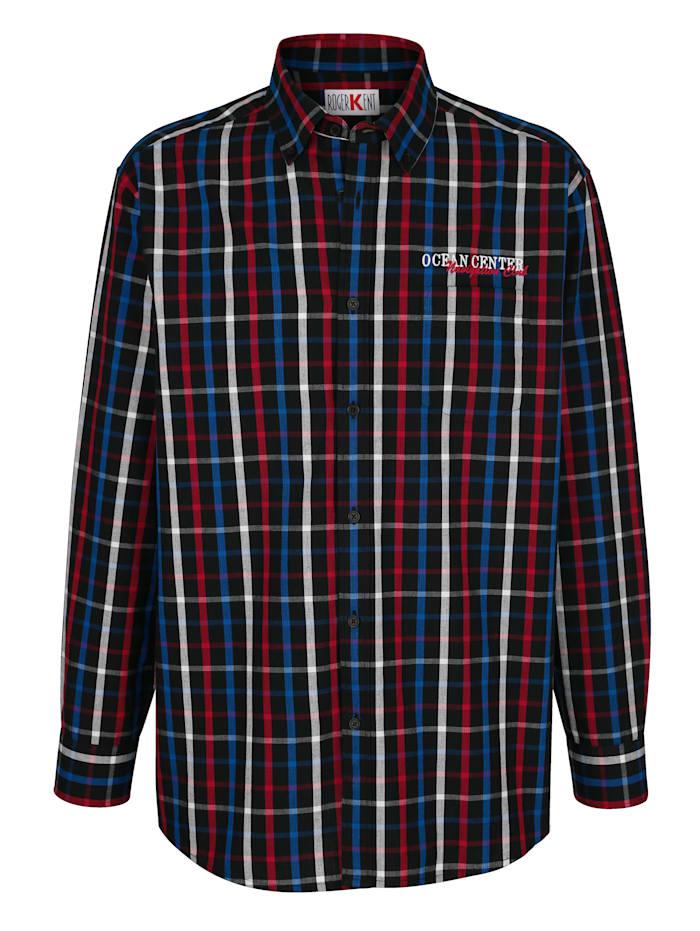 Roger Kent Overhemd met borduursel, Marine/Rood/Royal blue
