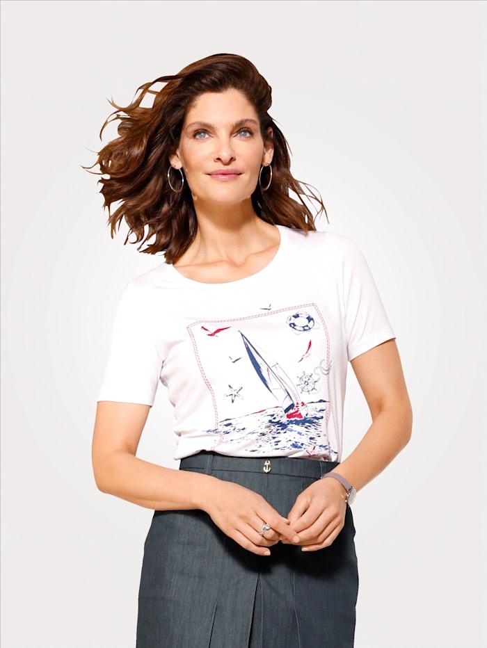 MONA Shirt mit maritimen Druckmotiv, Weiß/Marineblau/Rot