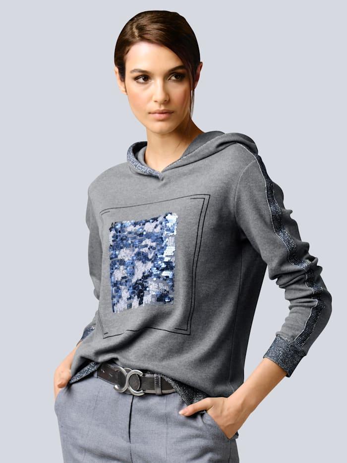 Alba Moda Shirt mit Pailletten-Motiv, Grau