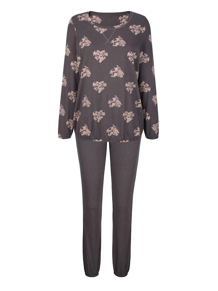 Simone Schlafanzug mit silberfarbenen Lurexnähten, Anthrazit/Hellrosa