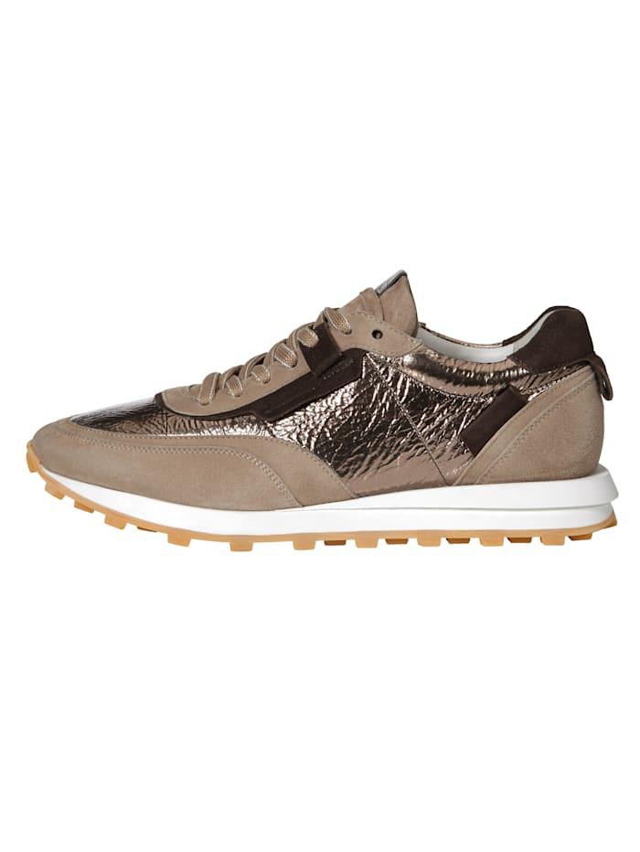 Sneakers en cuirs mélangés