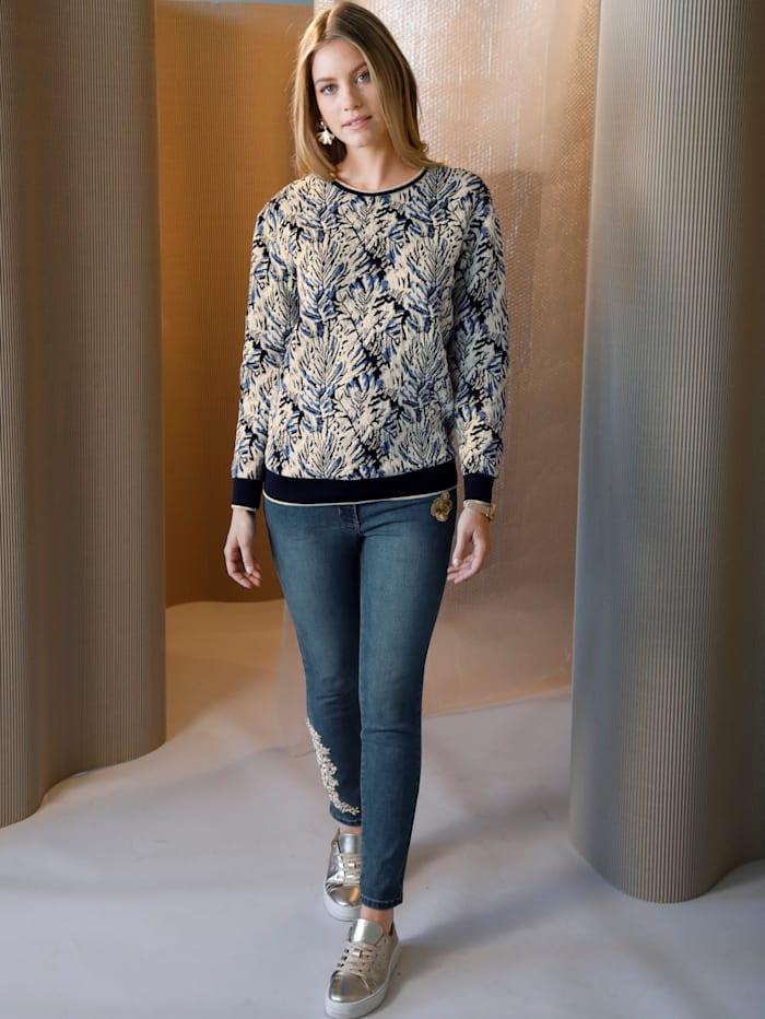 AMY VERMONT Jeans mit Stickerei und Perlen an einem Hosenbein, Blau