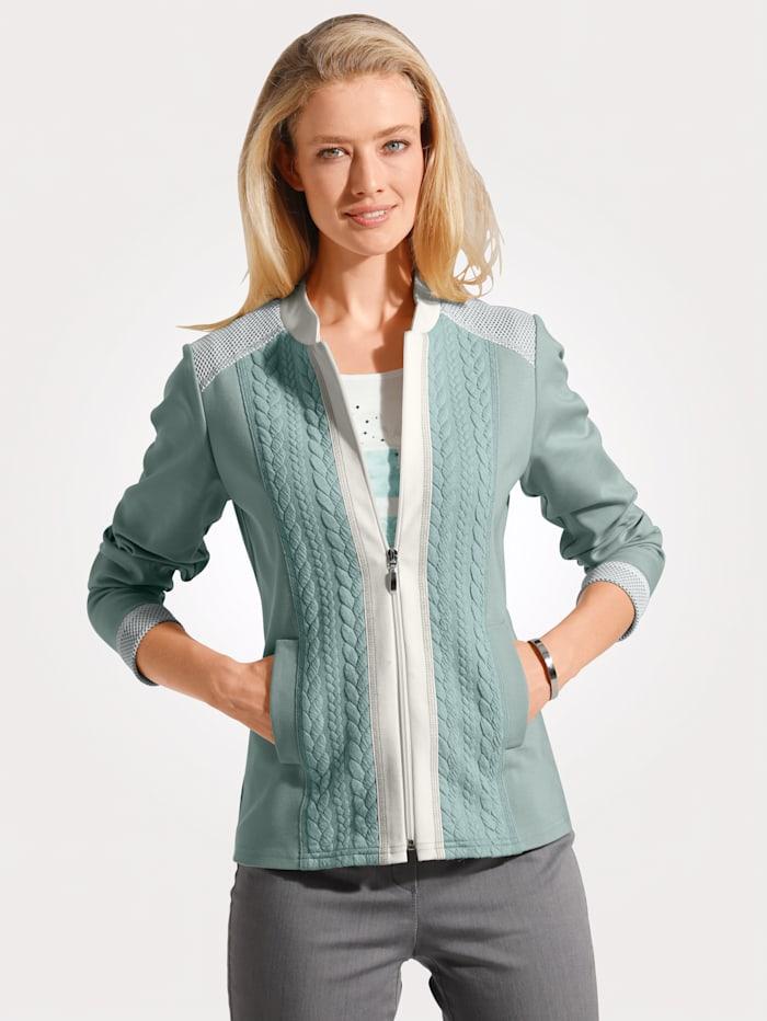 MONA Shirtjacke mit Strukturmix, Mintgrün/Weiß