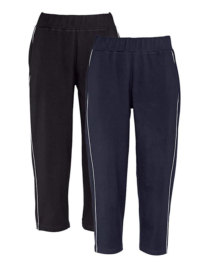 Harmony Lot de 2 pantalons de loisirs avec passepoil, Noir/Marine