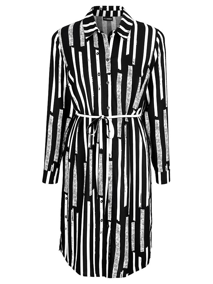 Hemdkleid mit grafischem Streifendruck