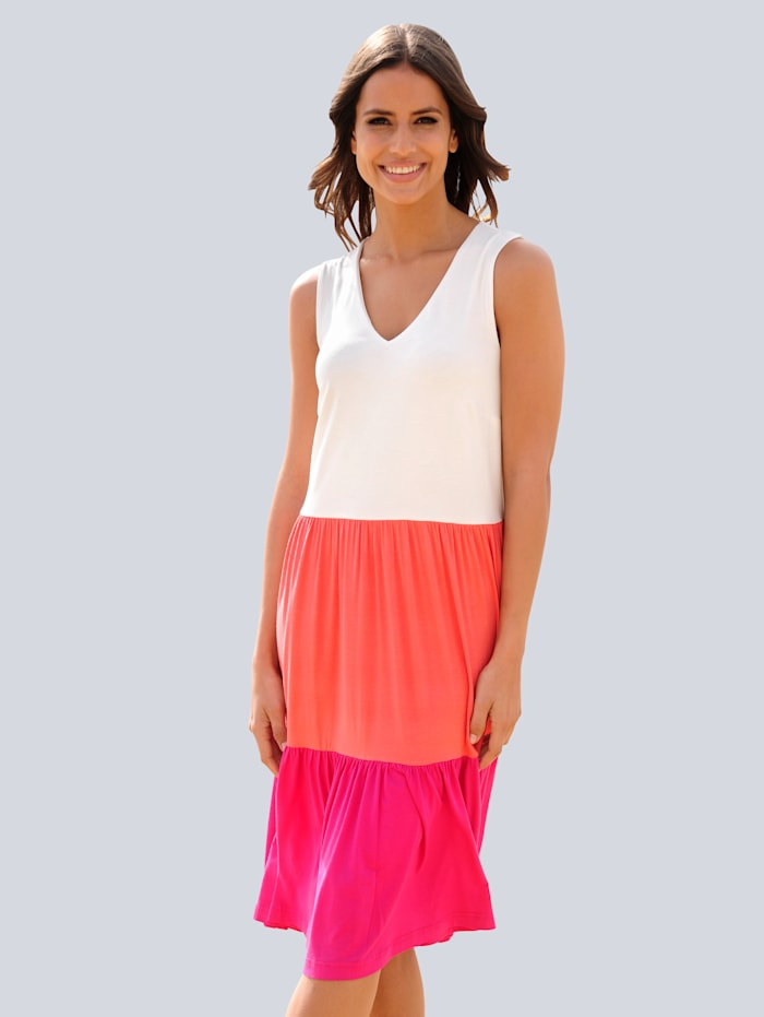 Alba Moda Strandkleid in Colour-Blocking-Optik, Weiß