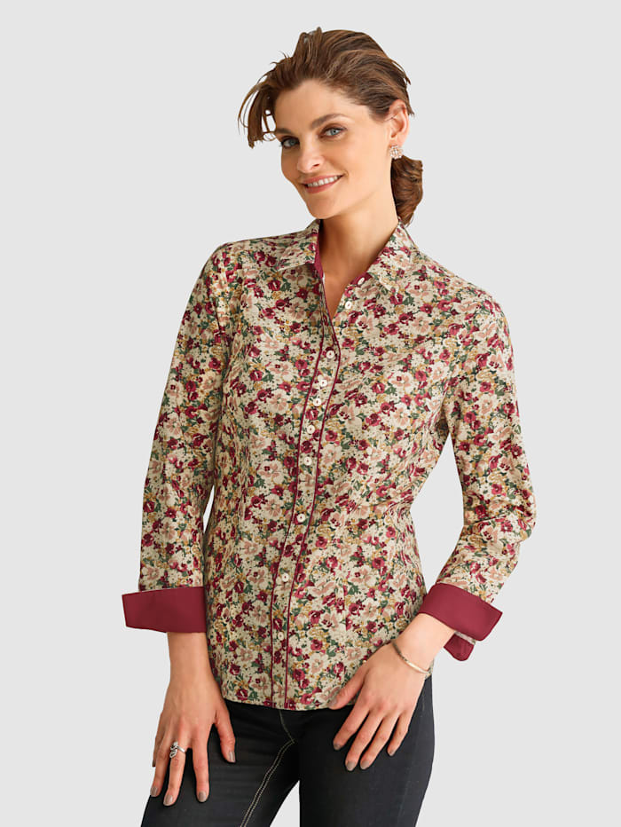 MONA Bluse aus Baumwolle, Beige/Rot/Oliv
