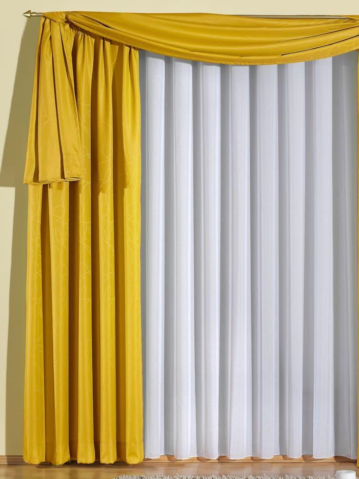 Wirth Einzelschal mit Kräuselband, Laura, gelb