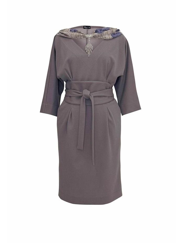 Wisell Abendkleid Midikleid mit V-Ausschnitt und Gürtel, grau